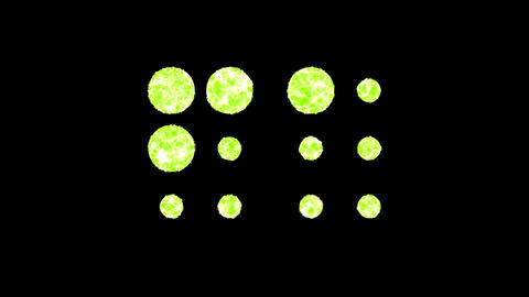Symbol braille shimmers in three colors: Purple, Green, Pink. In - Out loop. Alpha channel Animation