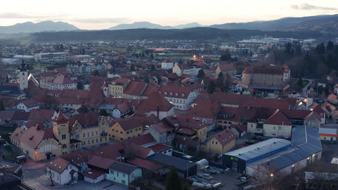 Evening aerial view of small medieval town in Europe with historic buildings Live Action
