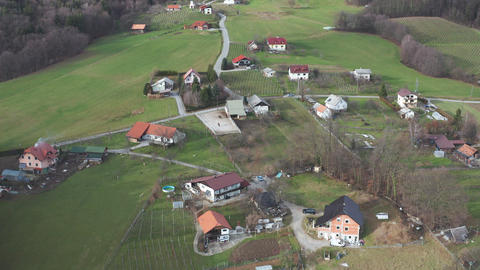 Ugly mixture of different architectural styles in rural countryside of Europe Live Action