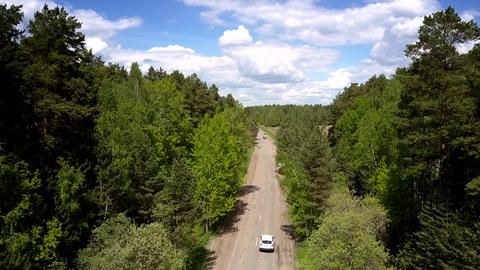 vehicle drives on gray destructed road between green forests Live Action