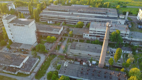Old Ruinous Factory At Sunset Live Action
