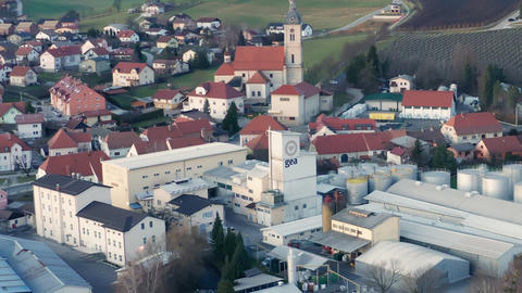 Industrial area in small town in Europe, factory in urban area of Slovenska Live Action