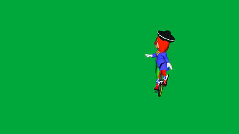 Clown on Unicycle (Green Screen): looping + Matte Stock Video Footage