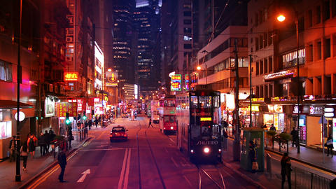 Nighttime traffic along a major city street in downtown Hong Kong. with double d Footage