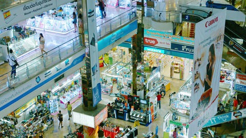 The interior of a large shopping complex - Pantip Plaza Footage