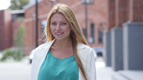 Smile by Beautiful Blonde Girl Outdoor, Portrait Footage