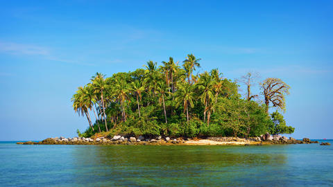 Undeveloped Little Tropical Island near Phuket in Southern Thailand Footage