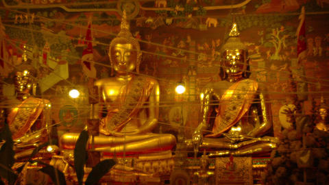 Golden Buddha Statues inside a Temple in Asia Footage