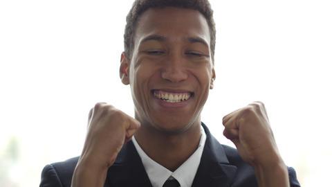 Excitement of Success, Gesture by Businessman, Portrait Footage