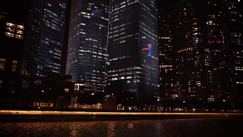 Modern Highrise Buildings at Night Footage