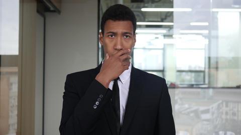 Amazed Black Businessman in Suit, Surprised Gesture Footage