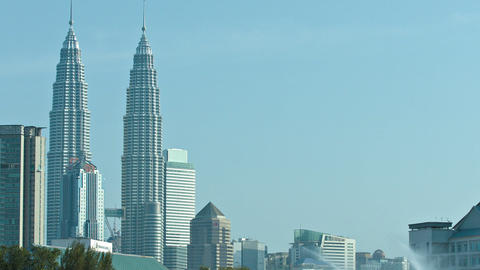 The city's dramatic skyline. including the iconic Petronas Twin Towers. taken fr Footage