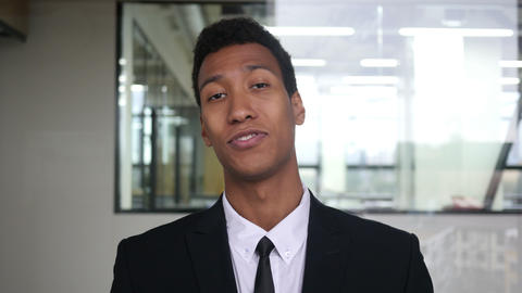 Web Cam View, Online Video Chatting Black Businessman in Suit Footage