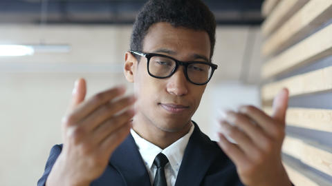 Inviting for Start Up, Offering Gesture by Black Businessman in Suit Live Action