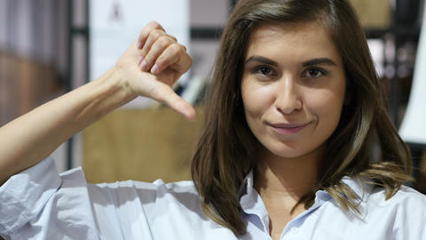 Thumbs Down by Mature Lovely Girl, Portrait Footage