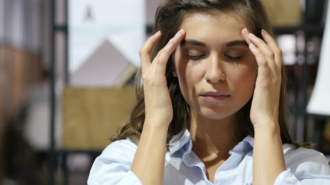 Headache, Frustrated Young Girl, Portrait Footage