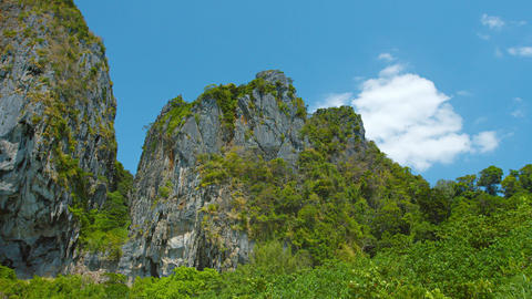 Massive Limestone Crags against a Bold Blue Sky Live Action