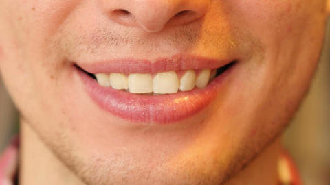 Close Up of Man Smiling Lips and Teeth Footage
