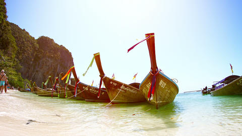 Handmade. wooden tour boats. lined up along Railay Beach. a beautiful and popula Footage