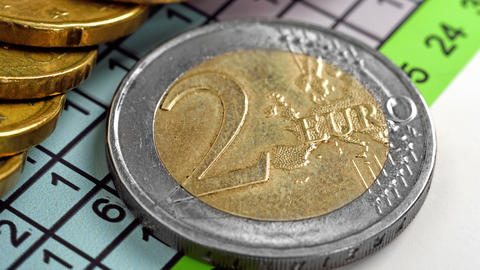 two euro coins Footage