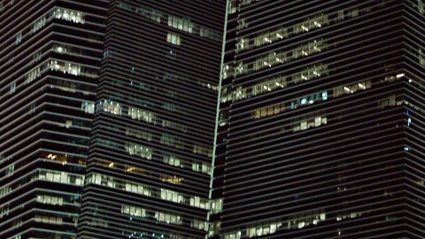 Contemporary Office Towers in a Big City at Night Footage