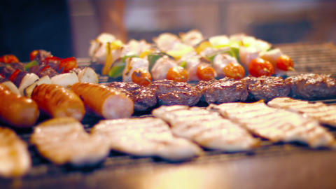 Variety of Delicious. Turkish Foods on a Street Vendor's Barbecue Grill Footage