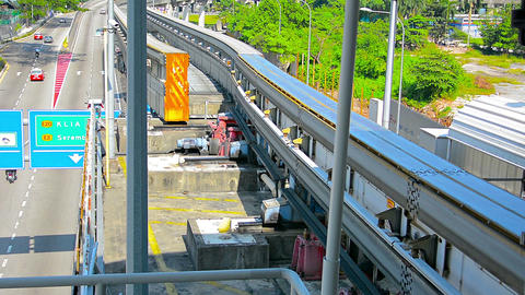 Monorail Track Switching Lines for oncoming Train Footage