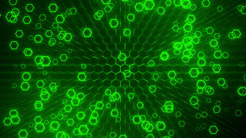 Green Glowing Hexagons Loop Abstract Motion Background Animation