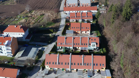 Townhouses in modern suburban area in Europe, aerial view of residential Live Action
