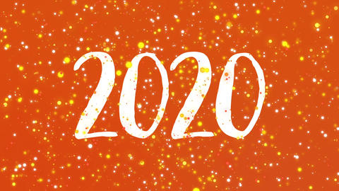 Sparkly orange Happy New Year 2020 greeting card video Animation