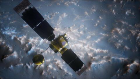 Global Surveyor orbiting Mars planet Live Action
