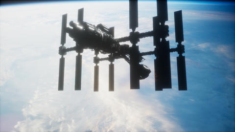 A view of the Earth and a spaceship. ISS is orbiting the Earth Live Action