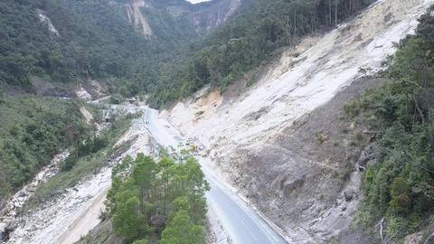 beautiful terrible view of deep ravine with road landslides Live Action