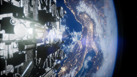 Spaceships in space 3D rendering Live Action