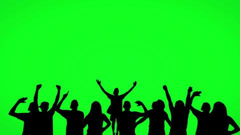 Silhouette of dancing people on green screen Acción en vivo