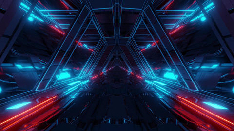 futuristic sci-fi space war ship hangar tunnel corridor with reflective glass Animation