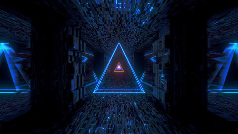 glowing wire-frame triangle with technical reflective tunnel corridor 3d Animation