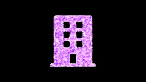 Symbol building shimmers in three colors: Purple, Green, Pink. In - Out loop. Alpha channel Animation