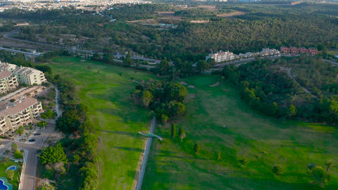Aerial view. Beautiful view of Golf Course looking down Live Action