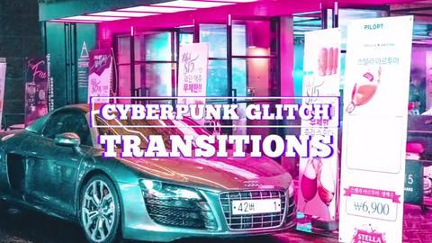 Cyberpunk Glitch Transitions Premiere Pro Template