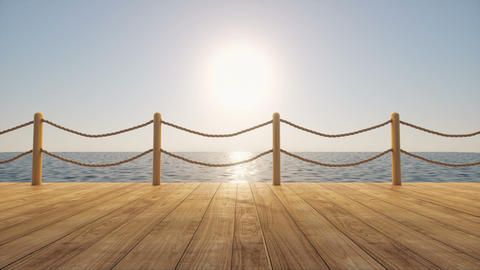 Wooden dock on blue sea in a bright day 3d render title animated background loop Animation