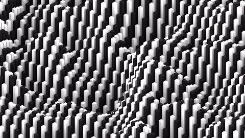 Irregular evolving surface formed by black and white blocks background loop Animation