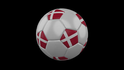 Denmark flag on a ball rotates on a transparent background, alpha channel loop Animation
