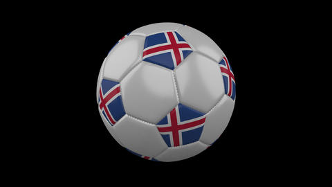 Iceland flag on a ball rotates on a transparent background, alpha channel loop Animation