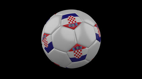 Croatia flag on a ball rotates on a transparent background, alpha channel loop Animation