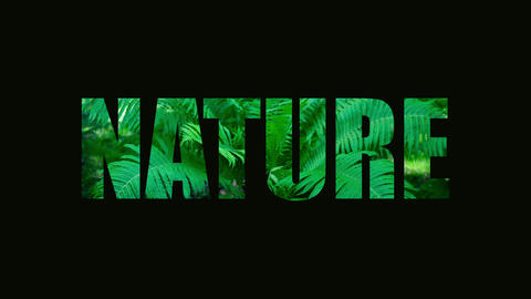 "The word ""nature"" is failing. The word nature on a background of plants. Failure Live Action"