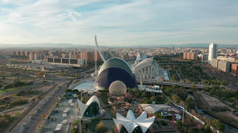 Valencia Spain. Aerial view. City of arts and sciences Live Action