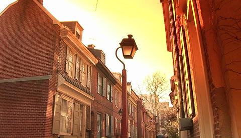 A Philadelphia neighborhood with old fashioned street lamp Stock Video Footage