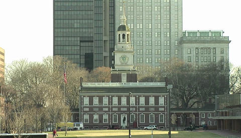 Constitution Hall in Philadelphia Stock Video Footage