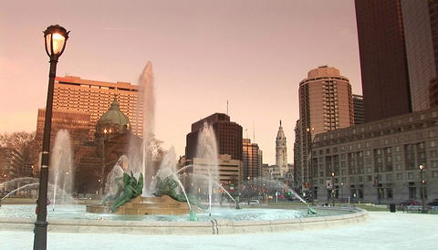 The downtown fountains of Philadelphia with city hall in background Footage